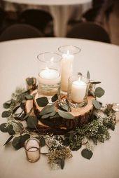 rustikale Hochzeit Herzstück Ideen mit Kerzen und viel Grün #emmalovesweddings #w …