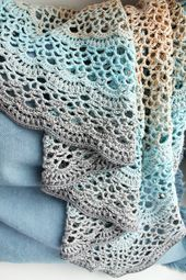 Crochet Shawl Soft Blue Beige Gray Mix – Womens Lace Boho Crochet Shawl – Triangular Cotton Lacy Shawl Pastel Colors – Gift For Her