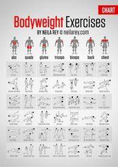 Bodyweight Exercises Chart – detaillierte Tabelle mit Abbildungen, die die Mög   – Healthy & Fitness
