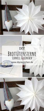 DIY Geschenkidee zu Weihnachten, Weihnachtssterne aus Brottüten basteln
