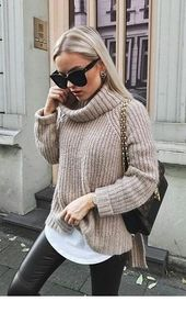 Cool grey oversize sweater for street style