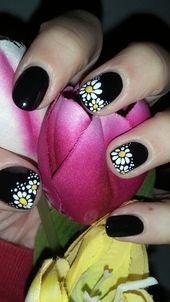 Dunkler Frühling | Super Spring Nails Design für kurze Nägel | Einfache Sommer Nail Art …   – Nails