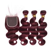 2019 99j Burgundy Brazilian Body Wave With Closure 3 Bundles Human Hair Weaves With Lace Closure Straight Deep Loose Water Wave Curly Remy Weft From Fashionhairqd, $0.7 | DHgate.Com