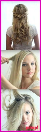 Halb hoch und halb runter Frisuren für Abschlussball - weiche romantische halb hoch Stil-Frisuren ... - chaotisch Brötchen halb hoch halb runter Stifte # Schleier Hochzeit # Boho Schleier #Vei ...