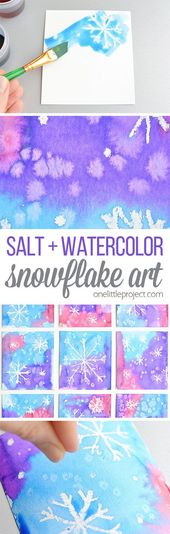 Magic Salt and Watercolor Snowflake Art Project for Kids