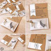 Hochzeitskarte DIY Kraftpapier Vintage rustikale Party gefallen Prickeln in der Beule B   – Hochzeit
