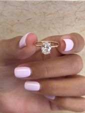 Oval Diamond Engagement Ring, 0.91 Carats Oval Diamond Ring, Hidden Halo, 14k Rose Gold Di…
