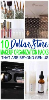 Dollar Store Hacks! The best hacks of the Dollar Store make-up organization! DIY craft project …
