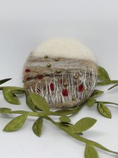 Needle felted abstract landscape brooch embroidered fiber arts unique gift idea for birthdays or anniversaries gift for her
