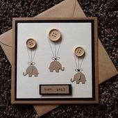 Nouveau bébé – carte faire-part de naissance Félicitations-baby shower-bébé bébé-boutons-éléphant-carte kraft