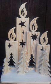 Weihnachten Deko, VIER Kerzen aus Holz , Natur, draußen oder drinnen , NEU, Geschenk
