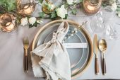 Fine Art wedding shoot marble gold grey white details sweet table dinner ceremon…