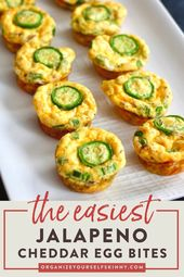 Easy & Healthy Jalapeno Cheddar Egg Bites To Freeze Breakfast Recipe | Easy Meal Prep Recipes