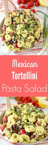 Cheese tortellini is tossed with black beans, bell peppers, tomatoes and corn in…