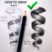 Hair curl drawing absolutely easy