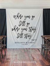 Hochzeit Kulisse für den Empfang, Christian Hochzeit Dekoration Ideen, rustikale Hochzeitsdekoration, Hochzeit Banner Hintergrund, Hochzeit Bibel Vers   – Wedding
