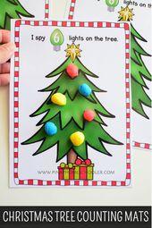 1-10 Weihnachtsbaum, der Teig-Matten zählt   – Christmas – School