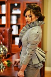 Ruffle Collar Blazer, Workplace Jacket, Ruffle Again, Two Buttons, For Ladies, Made To Order | Sabrine