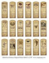 Fantasie Magie trank Etiketten digitale Collage Blatt 18 Etiketten für Serviettentechnik Hexen brauen, Zubehör und vieles mehr