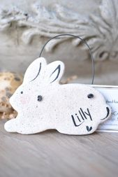 Easter Sale Personalized Bunny Door Hanger Salt Dough Ornament / Easter Sale