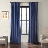 Exclusive Fabrics & Furnishings Swallow Tail Blue Faux Shantung Silk Curtain – 50 in. W x 108 in. L-SSCS-180737-108