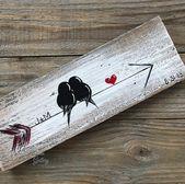 5th Anniversary Gift Birds on an Arrow Wood Wall Decor | Etsy