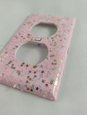 Pastel Pink Iridescent *Unicorn Tears* Star Glitter / Bling Light Switch Plates, Outlet Covers, Rockers /Kawaii Unicorn Décor / Nursery Room