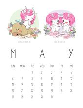 Free Printable 2018 Zodiac Sign Kawaii Unicorn Calendar – The Cottage Market