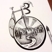 Eclectic Collection of Drawings and Illustrations – Bicycle Art – Motorcycle