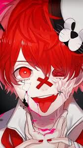 Psycho Anime Boy Red Hair Red Eyes Scarred Yandere Anime