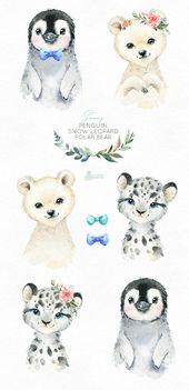 Illustrator Business Card Verschneiten Pinguin Schneeleopard Eisbär Aquarell Tierchen | Etsy