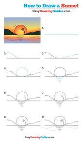 Lernen Sie, wie Sie einen Sonnenuntergang zeichnen: Ein einfaches Zeichnungs-Lernprogramm für Kinder und Beg