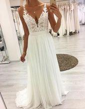Weißes langes Abendkleid aus Spitze mit V-Ausschnitt, weißes Abendkleid aus Spitze – New Ideas