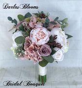 Hochzeitsstrauß, Dusty Rose Brautstrauß, Blush Hochzeitsstrauß, Pfingstrosenstrauß, Mauve / Dusty …  – Flowers