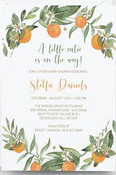 Orangen-Baby-Duscheeinladung, Instant Download, Cutie, Cuties, Orange einladen, geschlechtsneutral, Citrus Einladungen, bearbeitbare Templett  – Editable Templates xo
