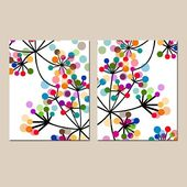 Modern Abstract Botanical Floral Duo – Set of Two 8×10 Prints – Colorful Wall Art for Home Decor – Basteln