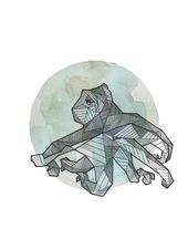 Full Moon Series: Geometric Animals – Octopus  / ink and watercolor on paper dra…,  #Animal…