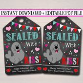 Valentines gift tag, Seal Gift Tags, Teacher Friend Kids Classroom, Printable Valentine, Chocolate Kiss Candy Tag, INSTANT DOWNLOAD