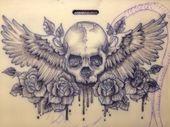 Skull. Wings. Tattoo. Badass. Realistic