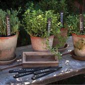 Hölzerne Kräutergarten-Markierungen mit Kasten   – Container Garden