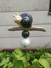 Keramik Ton Töpfern Stele Schnecke klein blau wei…