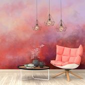 Paint Stains Watercolor Wallpaper. Fiery Ombre Wallpaper. Vintage Wall Mural. Self-Adhesive. Removable Wallpaper. Fiery Splash Decor Z56