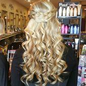 Ashley Malik ashleyamalik@gmai... ig: amhaircreations wedding guest hair bridesmaid hair bridal hair bride blonde curled half updo braided updo long b...