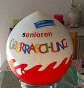 Senioren Ü-Ei aus Pappmaché zum 60. Geburtstag. Gefüllt mit Konfetti und Klei… – Leni's 60 Geburtstag