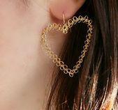 Regalo del día de San Valentín, pendientes colgantes de oro HEARTS, pendientes…