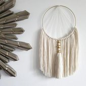 Cream macrame wall hanging – Home accessory with luxurious fringe and hand-painted beads