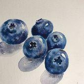 Aquarelle Malerei der Heidelbeeren, Stillleben-Malerei, Originalkunst, dekorative Kunst, Küchendekoration