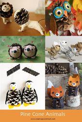 Eine lustige Zusammenfassung von Tannenzapfen Tierhandwerk, die …