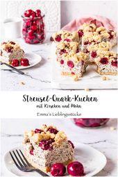 Streusel-Quark-Kuchen mit Mohn und Kirschen Rezept Käsekuchen Blechkuchen backe… – Torten und Kuchen