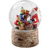 Photo of Santa Kinder und Welpe mit Birkenbasis Schneekugel Weihnachtsdekoration, 13 cm – Mehrfarbig